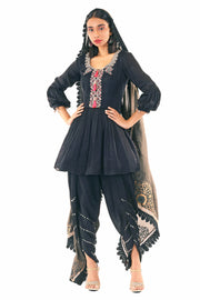 Black Peplum Kurta With Dhoti Pants & Odhni