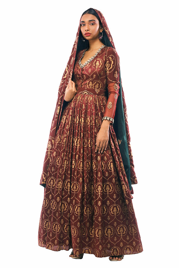 Gold Foil Print Burgandy Anarkali & Odhni With Dabka Embroidery
