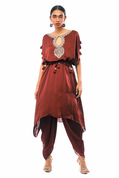 Burgandy Embroidered Kaftan & Dhoti Pants