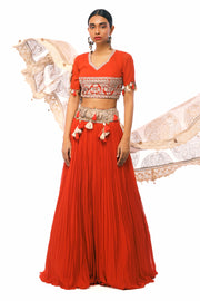 Red Embroidered Lehenga Set With Gold Foil Print Sheer Odhni