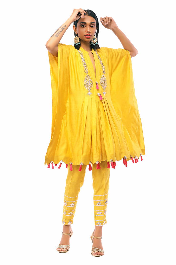 Yellow Hand Embroidered Kaftan With & Cigarette Pants
