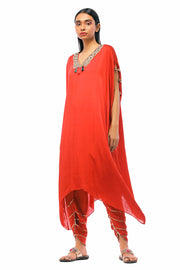Red Asymmetrical Hemline Kurta With Dhoti Pants