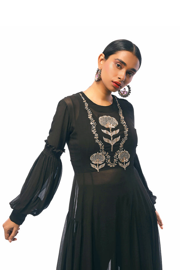 Charcoal Hand Embroidered Kurta With A Bustier & Cigarette Pants