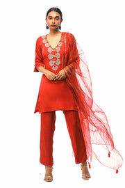 Red Embroidered Long Kurta With Pants & Sheer Printed Odhni