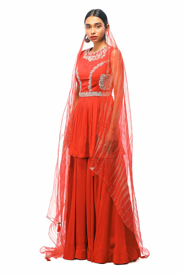 Red Embroidered Peplum Kurta With Flared Pants & Sheer Printed Dupatta