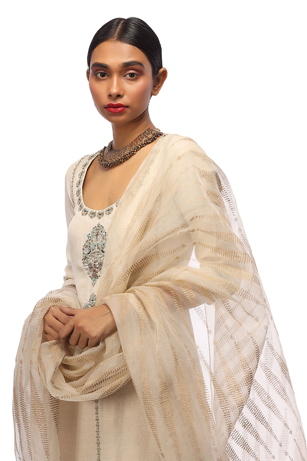 Ivory Embroidered Kurta, Pants & Printed Dupatta