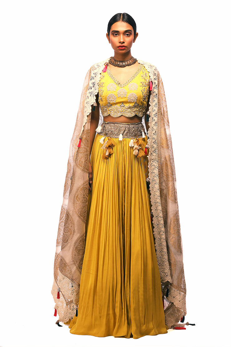 Yellow Embroidered Lehenga Set With Gold Foil Print Odhni