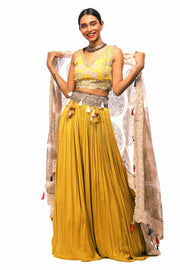 Yellow Embroidered Lehenga Set With Gold Foil Print Odhni - BHUMIKA SHARMA