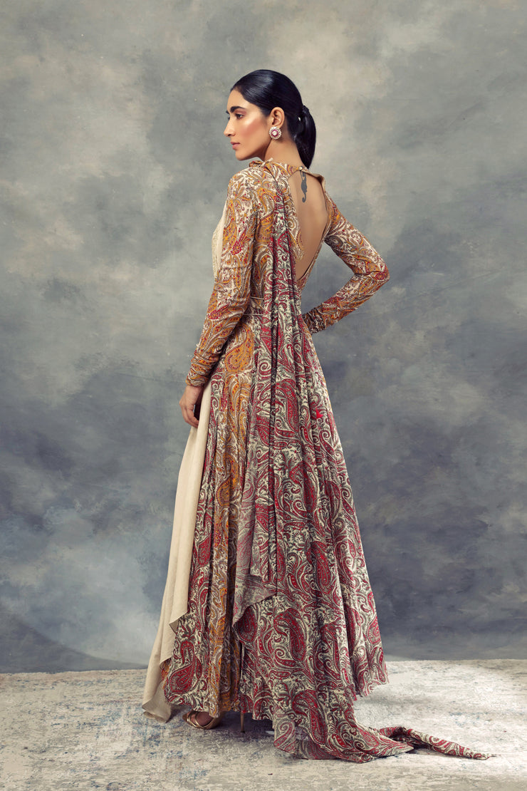 Ambi Jaal Print Anarkali With Embroidered Dupatta & Belt