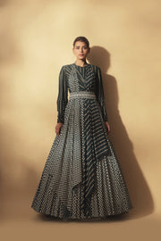 Teal Green Bindu & Nukta Print Draped Anarkali With Dual Print Dupatta & Handcrafted Pearl Work Belt