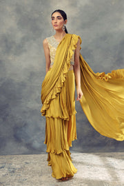 Mustard Yellow Layered Saree With Moroccan Print Embroidered Blouse - BHUMIKA SHARMA