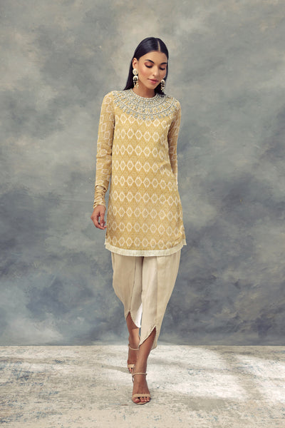 Mustard Yellow Printed Kurta With Embroidered Neckline Paired With Dhoti Pants - BHUMIKA SHARMA