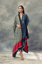 Dark Green Pleated Kaftan Kurta With Dhoti Pants & Printed Odhni