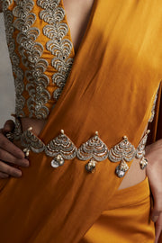 Hand Embroidered Cutwork Belt With Pearl & Sikka Latkans