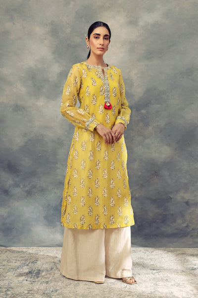 Ambi Print Long Kurta With Pallazo Pants - BHUMIKA SHARMA