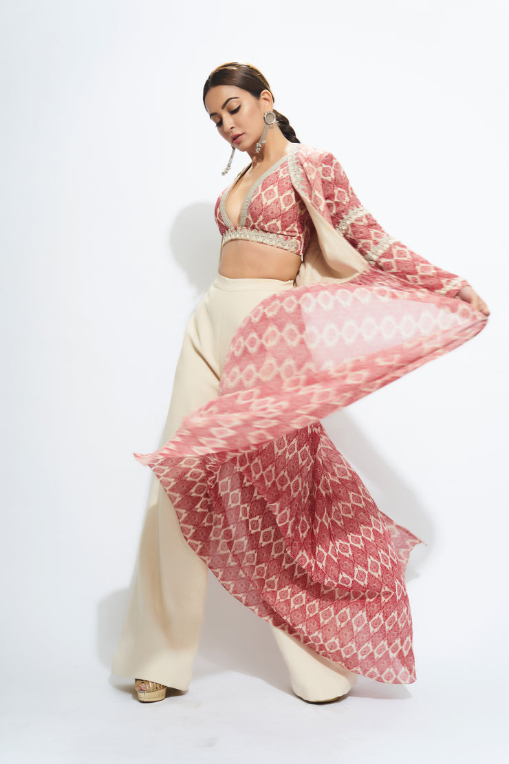A Printed Embellished Blouse & Cape With Trousers - BHUMIKA SHARMA