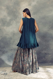 Peacock Green Embroidered Ruffle Top With Ambi Jaal Print Flared Pants
