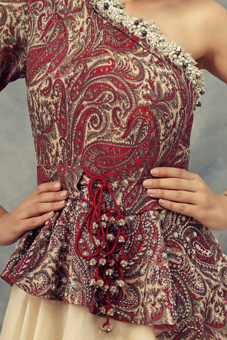 One Shoulder Ambi Jaal Print Peplum Gown