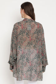 Ambi Jaal Print Embroidered Bow Tie Top
