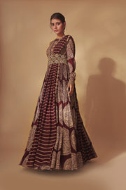 Burgundy & Gold Ambi Circle Print Anarkali With Hand Embroidered Belt