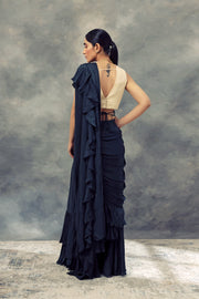 Peacock Green Ruffle Saree With Embroidered Blouse & Belt - BHUMIKA SHARMA