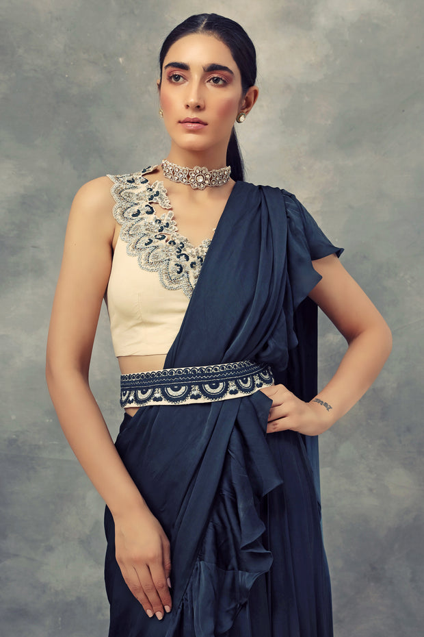 Peacock Green Ruffle Saree With Embroidered Blouse & Belt