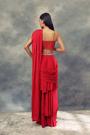 Ruby Red Three Layered Saree With Embroidered Bralette & Belt