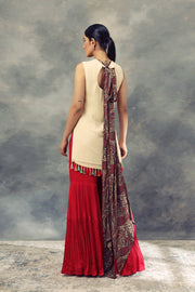 Ivory Top With Thread Work Ambi Circles & Sharara Pants