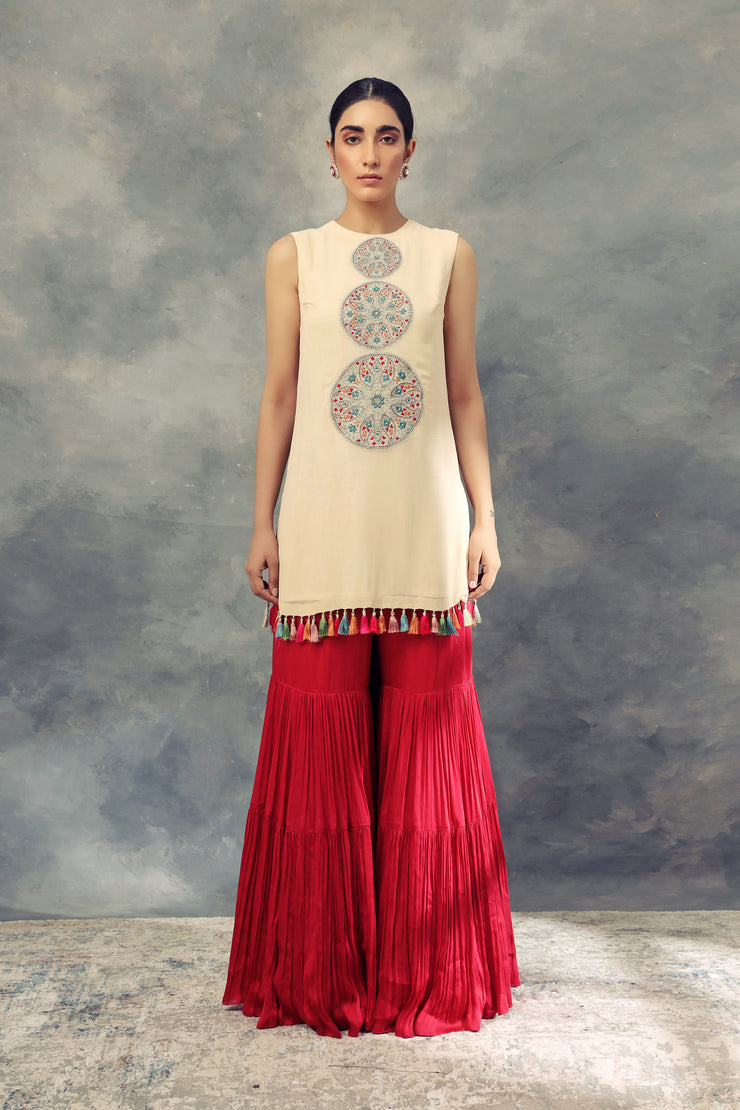 Ivory Top With Thread Work Ambi Circles & Sharara Pants - BHUMIKA SHARMA