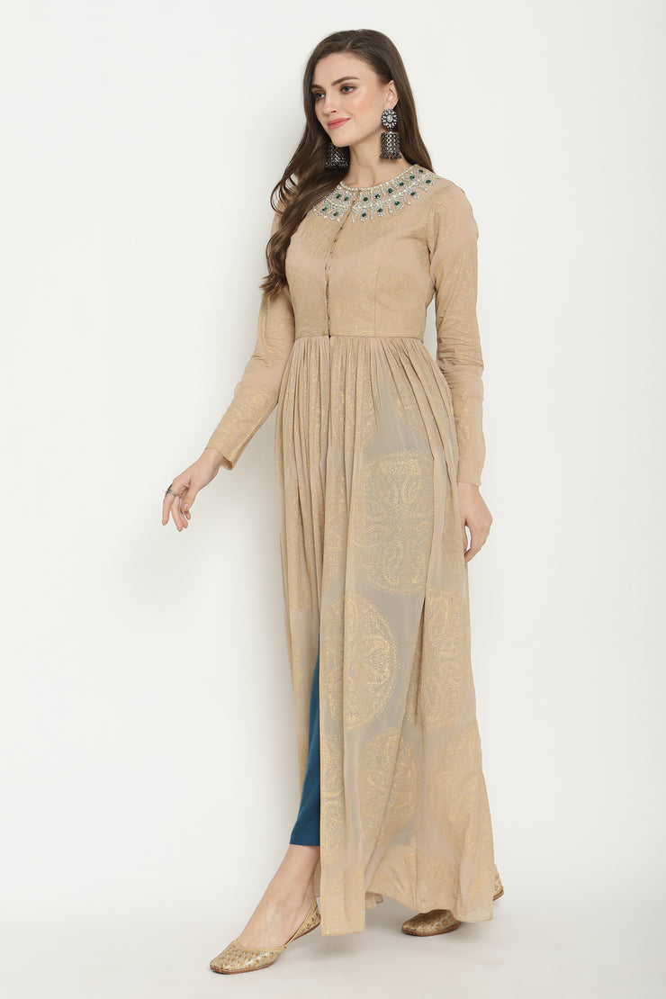 Beige Circle Print Embroidered Cape Set