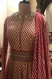 A Red Bindu Print Embroidered Anarkali With Printed Dupatta & Handcrafted Belt