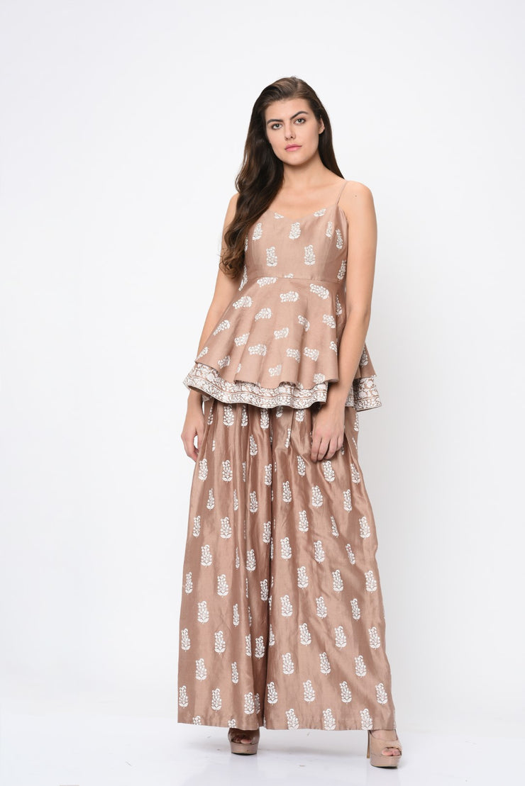 Beige Printed Chanderi Double Layer Top with Pants