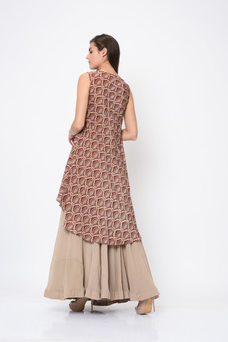 Marsala Leaf Print Asymmetrical Kurta with Flared Pant
