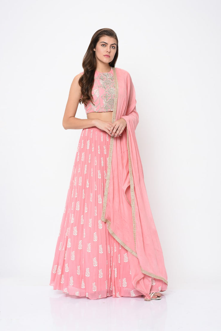 Pink Paisley Print Embroidered Lehenga Set