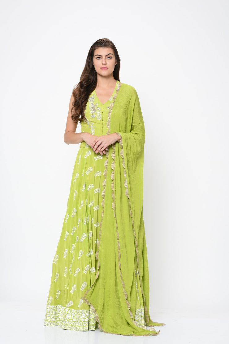 Green Paisley Print Embroidered Lehenga Set