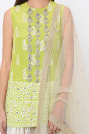 Green Paisley Print Embroidered Kurta with Ivory Sharara