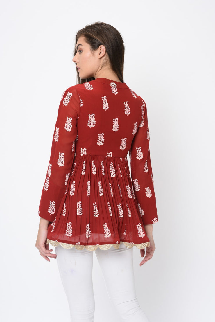 Red Paisley Print Tunic