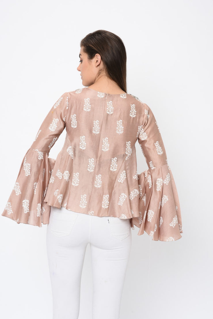 Beige Paisley Print Embroidered Top