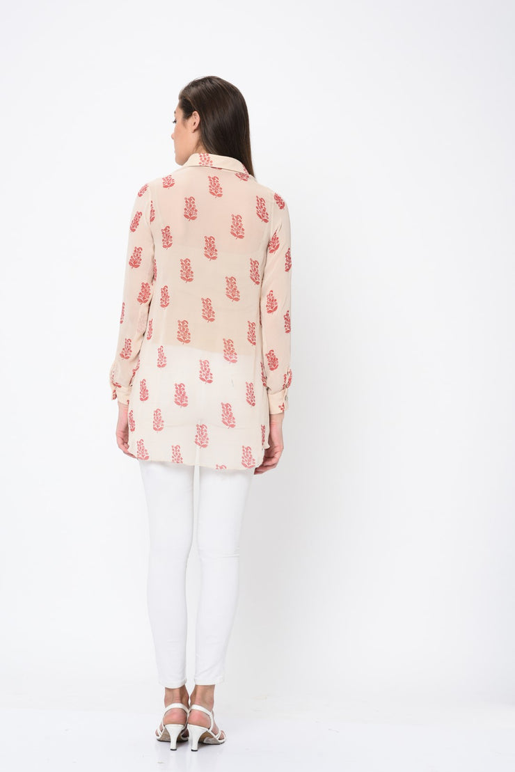 Ivory Paisley Print Embroidered Tunic
