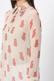 Ivory Paisley Print Embroidered Tunic - BHUMIKA SHARMA