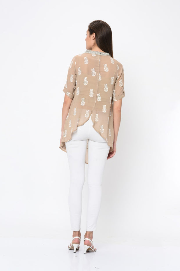 Light Beige Paisley Print Embroidered Tunic