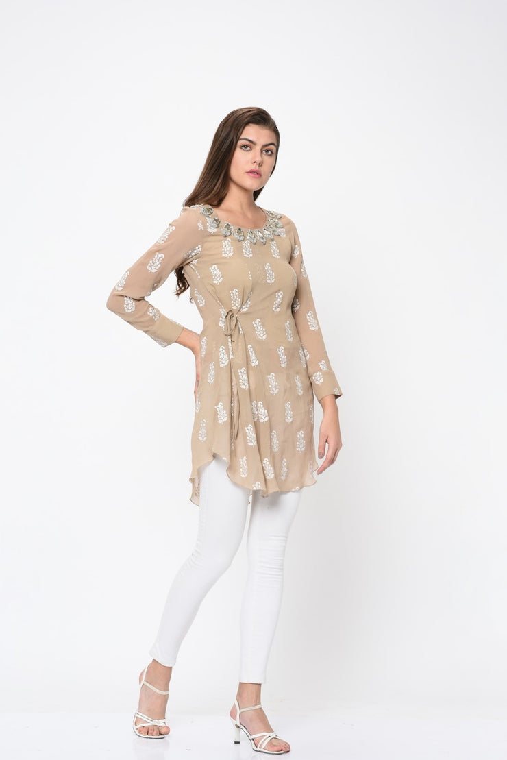 Light Beige Paisley Print Side Knot Tunic - BHUMIKA SHARMA
