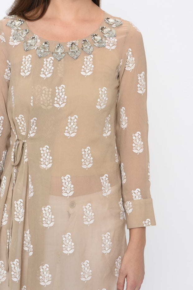 Light Beige Paisley Print Side Knot Tunic