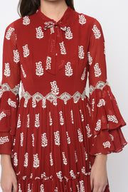 Red Printed Embroidered Ruffle Gown