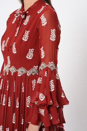 Red Printed Embroidered Ruffle Gown - BHUMIKA SHARMA