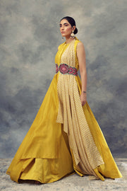 Mustard Yellow Peplum Top & Skirt Set With Knot Dupatta & Embroidered Belt