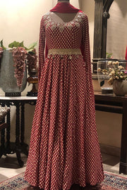 An Ivory Bindu Print Embroidered Anarkali With Dupatta & Handcrafted Thread Work Belt