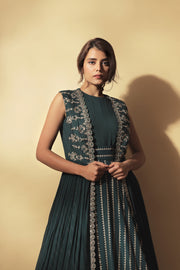 Teal Green Nukta Print Anarkali With Embroidered Long Cape