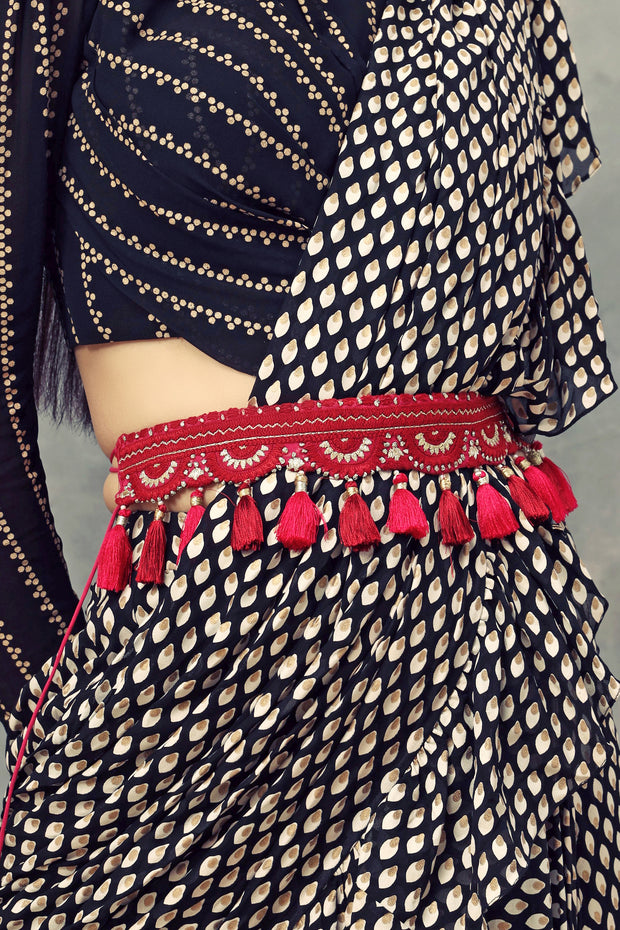 Handcrafted Red Thread & Kasab Work Belt