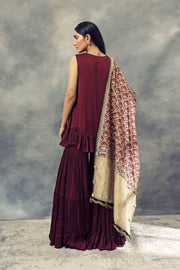 Burgandy Kurta Sharara Set & Leaf Print Embroidered Odhni